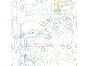Tisíc zvířátek - vybarvovací tapeta multibarevná
