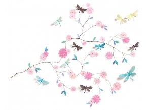 Nálepka na zeď - Kvetoucí strom s 3D vážkami