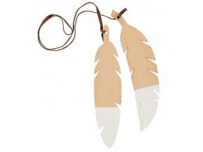 Dřevěná ptačí pírka Bílá