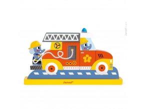 Dřevěné magnetické puzzle Hasičské auto, 9 dílků