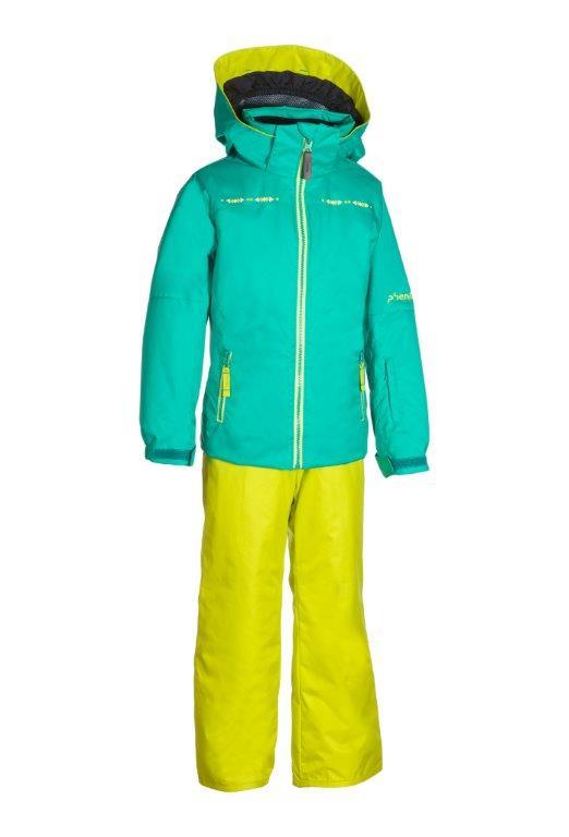 Lyžařský komplet Phenix SukuSuku Eternal-Flame Barva: zelená bunda/žluté kalhoty, Velikost: 8-12
