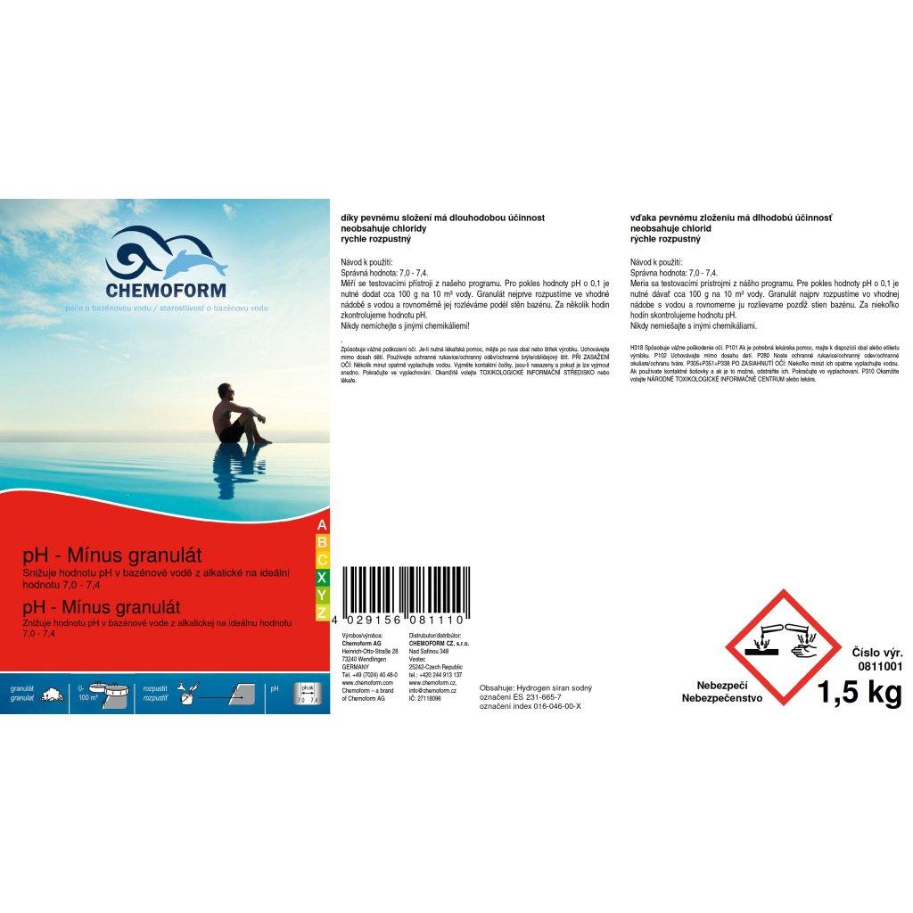 pH mínus granulát (Obsah balení 25 kg)