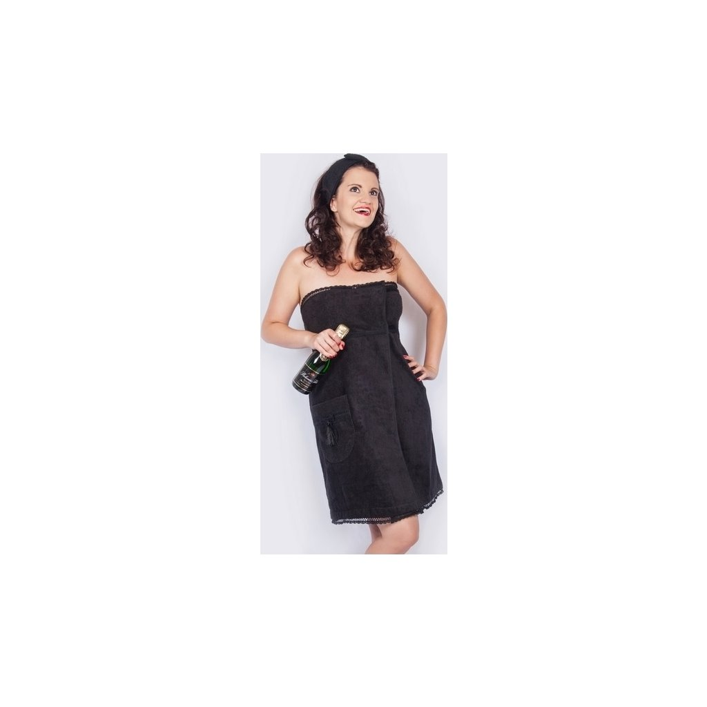 Little Black Dress: Černý krajkový župan a saunový kilt (Velikost S-M-L)