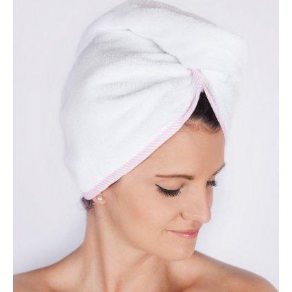 23988 candy dream bily turban s ruzovo bilym lemem na vlasy