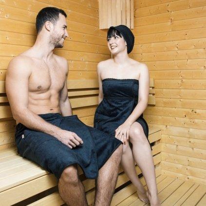 Man in Black: Pánský černý saunový kilt od MaryBerry (Velikost L/XL)