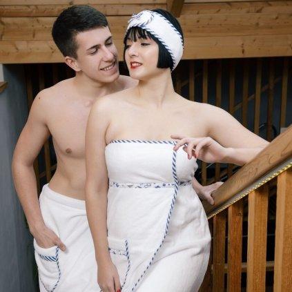 Mr. Captain: Pánský bílý saunový kilt od MaryBerry (Velikost L/XL)