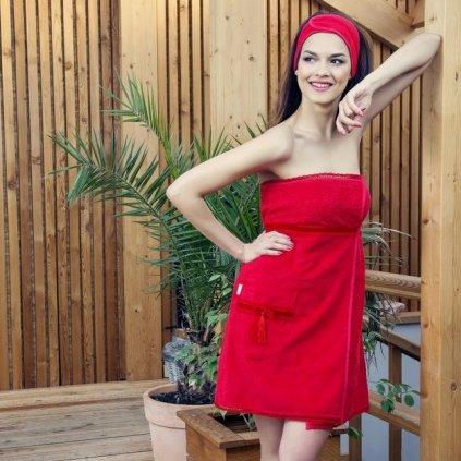 Beauty in Red: Červený krajkový župan a saunový kilt (Velikost S-M-L)