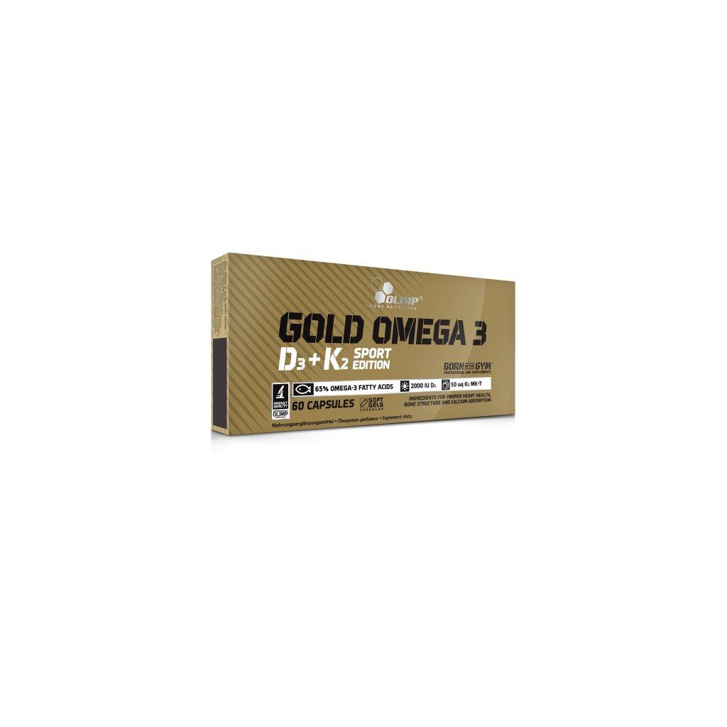 Olimp Gold Omega 3 D3+K2,60 cps, omega-3 mastné kyseliny s vitamíny E, D3 a K2