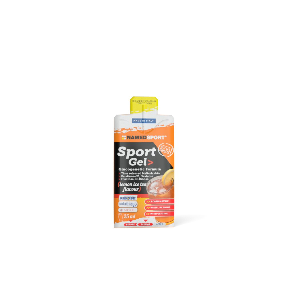 NAMEDSPORT, Sport gel, energetický, 25ml, Lemon - Ice tea