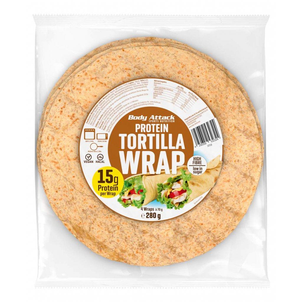 Body Attack Protein Tortilla Wrap, 280g, 4 ks, tortilla s vysokým obsahem bílkovin a nízkým podílem sacharidů