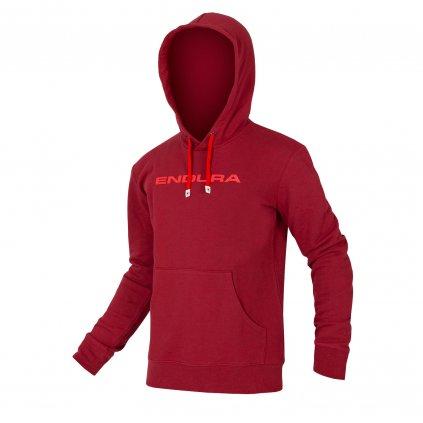 Mikina s kapucí Endura One Clan, Rezavě červená Barva: Rezavě červená, Velikost: XXL