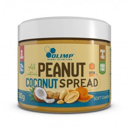 Olimp Peanut Spread 300 g, arašídovo-kokosová pomazánka s přidaným medem 100% přírodní