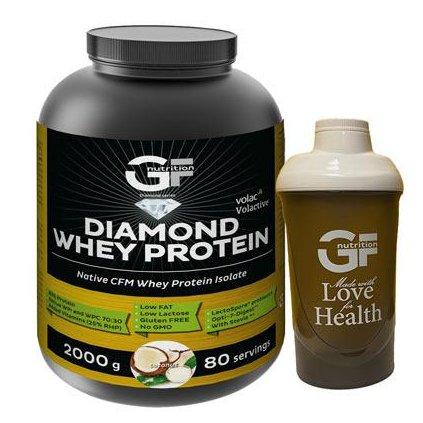 GF Nutrition Diamond Whey Protein 2 kg, nativní syrovátkový izolát a koncentrát v poměru 70:30, Coconut