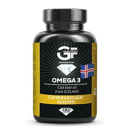 GF Nutrition Omega 3 180 kapslí, prémiový rybí olej z čerstvých jater tresky obecné pocházející Islandu