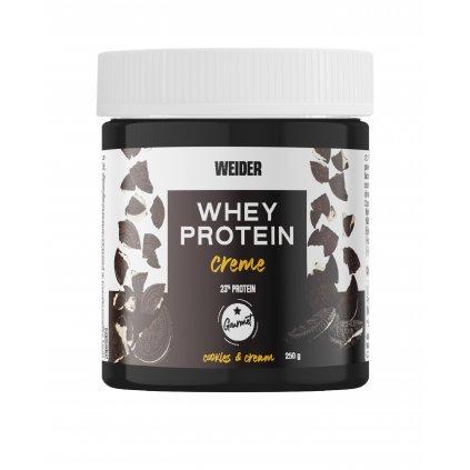 Weider Whey Protein Creme 23% Protein 250g, tmavý kakaový krém se syrovátkovou bílkovinou, Cookies Cream