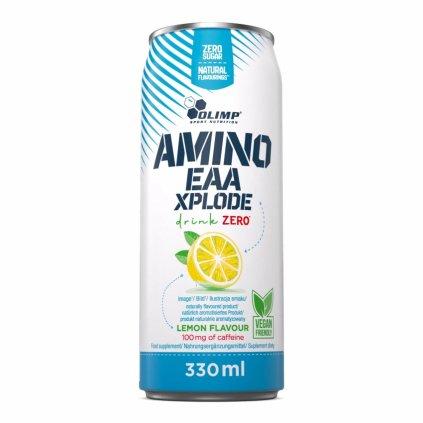 Olimp EAA Xplode Drink Zero 330 ml, sycený drink s esenciálními aminokyselinami a kofeinem, Lemon