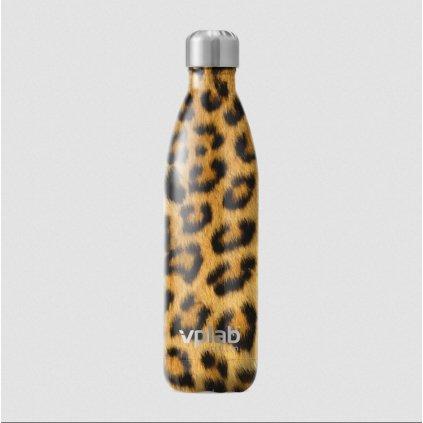 VPLAB kovová láhev na studené i teplé nápoje, 500ml, Leopard