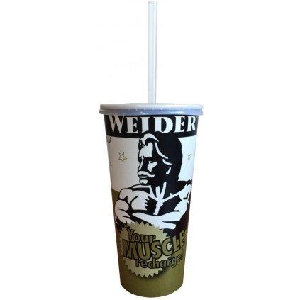 Weider jednorázový papírový kelímek 500 ml, s brčkem a víčkem