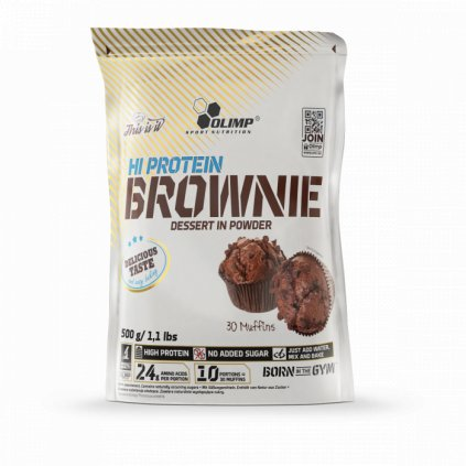 OLIMP Hi Protein Brownie, směs na výrobu muffinů, chocolate, 500g