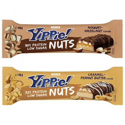 Weider Yippie! Nuts Protein Bar, 45g, proteinová tyčinka s nízkým obsahem cukru, Caramel-Peanut Butter