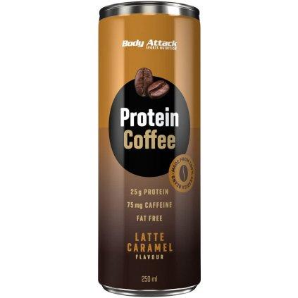 Body Attack Protein Coffee Latte Caramel 250 ml, káva s 25g bílkovin a 75mg kofeinu, Latte Caramel
