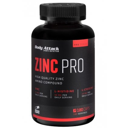 Body Attack Zinc Pro, 180 kapslí, zinek + histidin + cystein + vitamin C