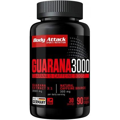 Body Attack Guarana 3000, 90 kapslí, rostlinný extrakt z guarany