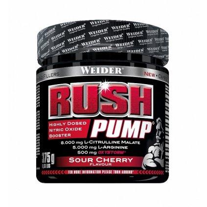 Weider Rush Pump, 375 g, předtréninková vasodilatační směs bez kofeinu a kreatinu, Višeň