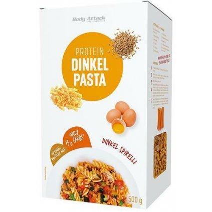 Body Attack Protein Dinkel Pasta, 500 g, špaldové těstoviny s proteinem se sníženým obsahem sacharidů