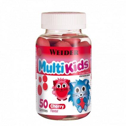 Weider Multi Kids 50 Gummies, želatinové bonbóny s vitamíny pro děti, Višeň
