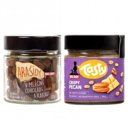 BIG BOY® Balíček Crispy pecan + BIG BOY® Arašídy v mléčné čokoládě a kakau 330g