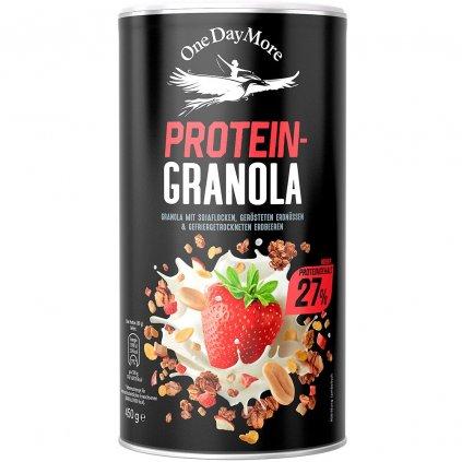 One Day More Granola Protein se sojovými vločkami, praženými arašídy a lyofilizovanými jahodami, 450 g, Granola s proteinem