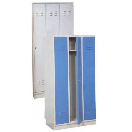 Šatní skříň trojdílná - barva šedá/modrá