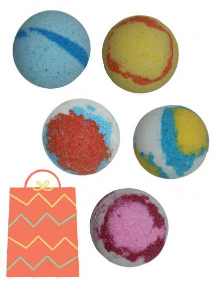 Šumivé bomby do koupele, 125g | Sada 5 ks (varianta 2)