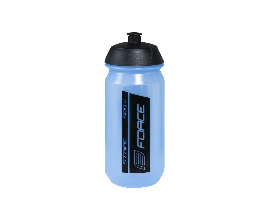Láhev FORCE STRIPE 0,5 l, transpar.modrá-černá