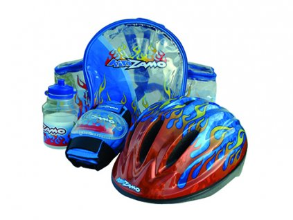 KIDZAMO set FLAME modrý přilba+chrániče+láhev+batoh 48-52cm