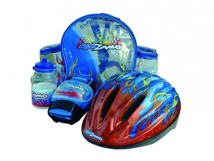 KIDZAMO set FLAME modrý přilba+chrániče+láhev+batoh velikost 52-56cm