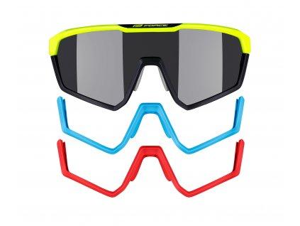 Brýle FORCE APEX, fluo-černé,černé kontrastní skla
