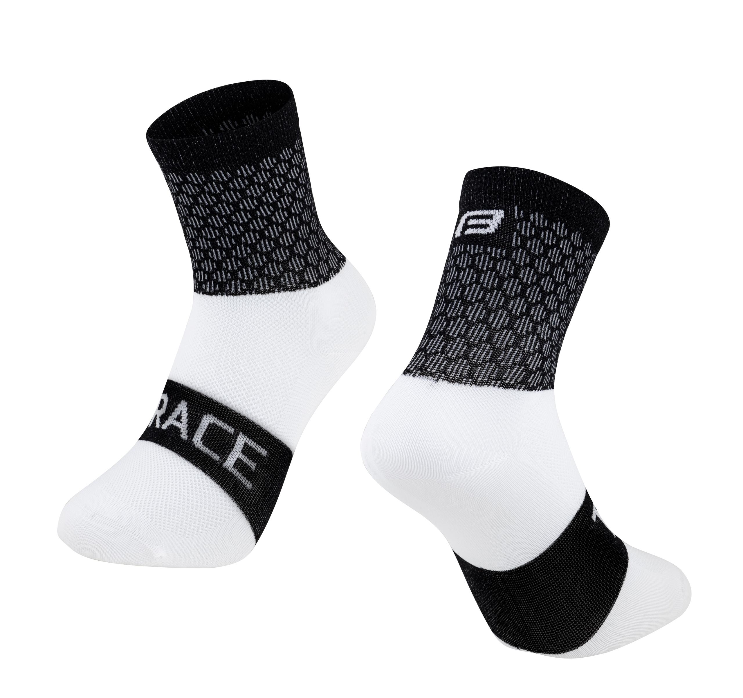 Ponožky FORCE TRACE, černo-bílé Velikost: S-M, určení: cyklistické, model: TRACE