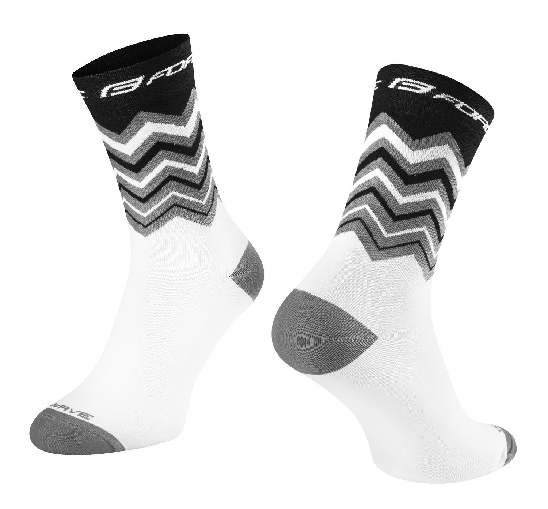 Ponožky FORCE WAVE, černo-bílé Velikost: S-M, určení: cyklistické, model: WAVE