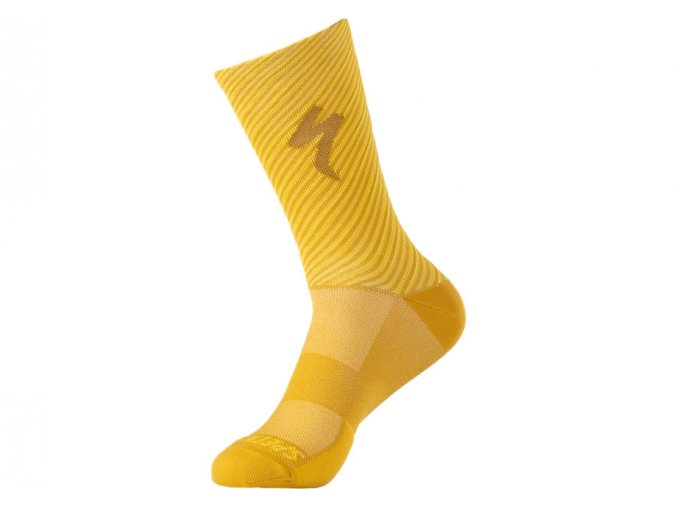 64721 243 APP SOFT AIR TALL LOGO SOCK BRSYYEL GLDNYEL STRIPE M PLP HERO