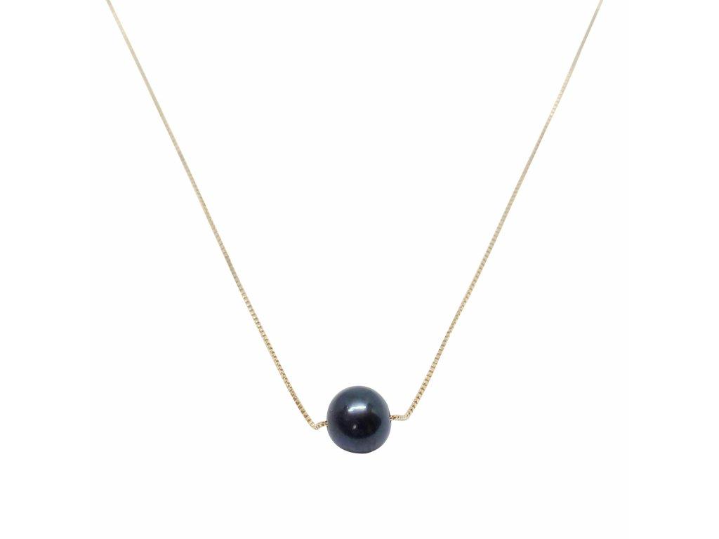 Zlatý řetízek s černou perlou