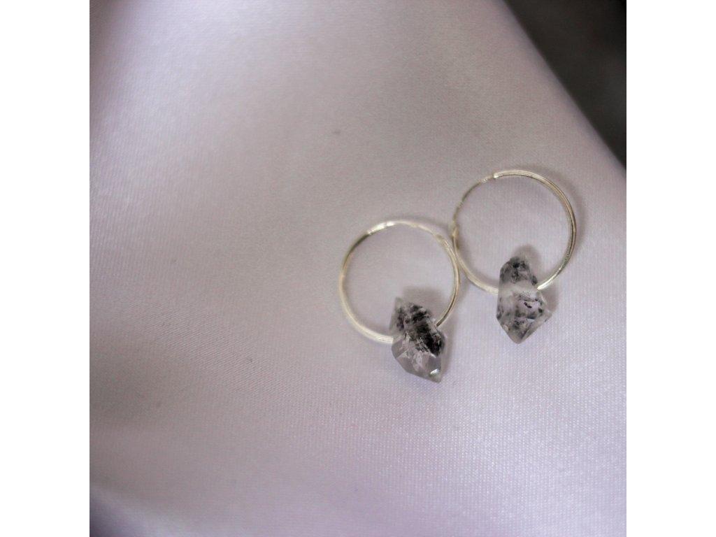 černé krystaly inkluze náušnice stříbro