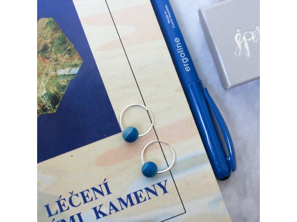 Náušnice s modrými acháty