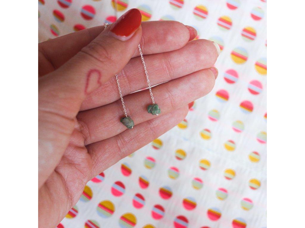 visací náušnice ze stříbra se smaragdy