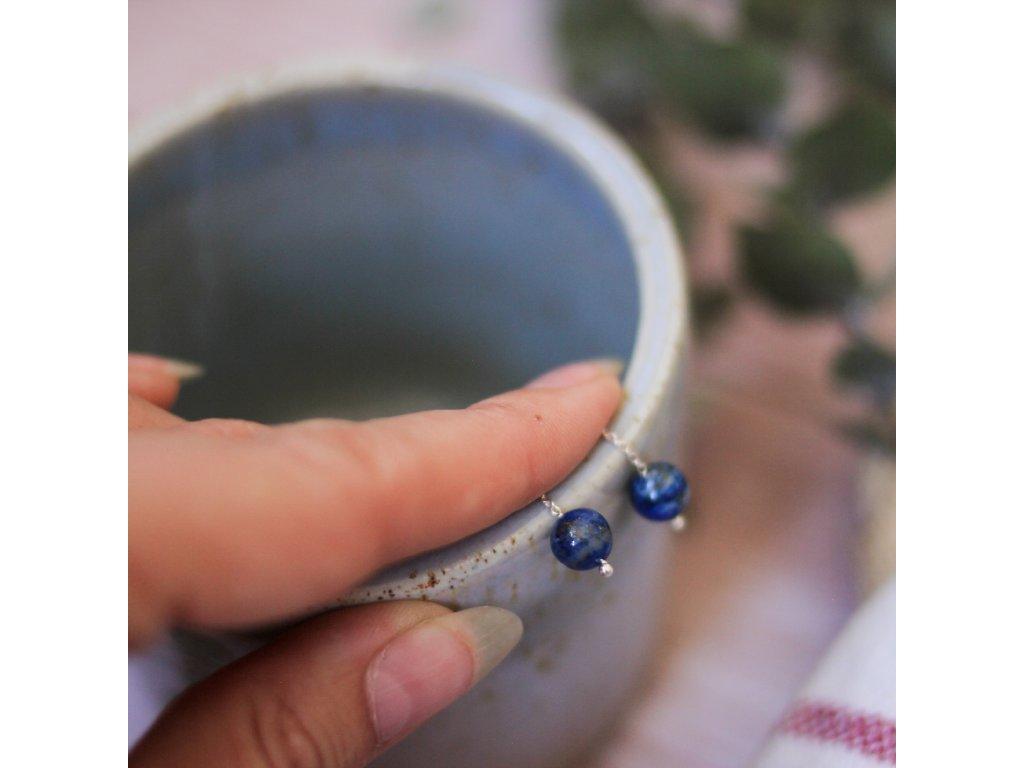 Visací náušnice Země s lapis lazuli