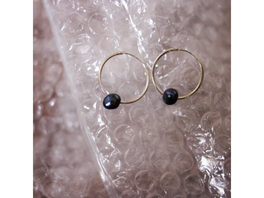Náušnice s černými barokními perlami