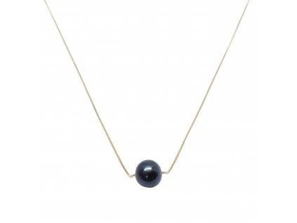 pravá černá perla na řetízku ze žlutého zlata au585