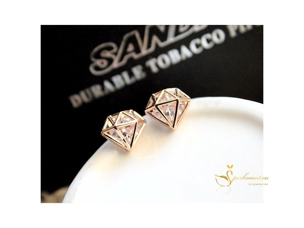 Nádherné pozlacené náušnice ve tvaru diamantu.