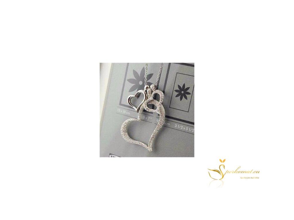 Stříbrný náhrdelník dvě srdce